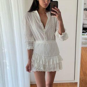 """Loveshackfancy """"Lorelei"""" Mini Dress, White XS"""